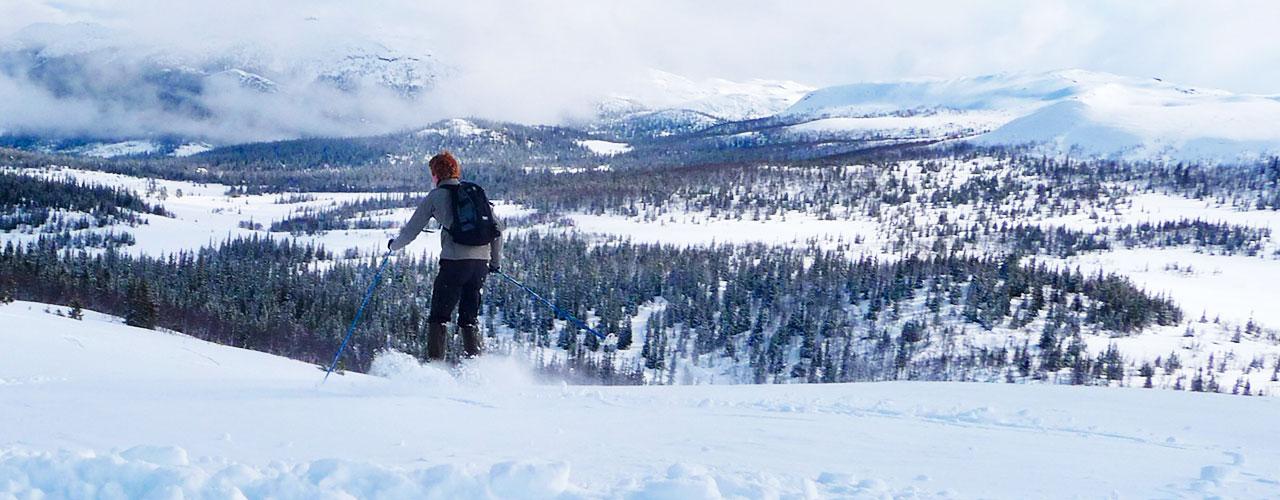 Norges imponerende sneklædte fjeld folder sig ud under vores ski
